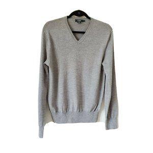 J Crew 100% Merino Wool V Neck Sweater Grey